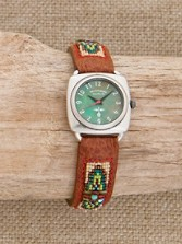Beaded Watch With Turquoise Dial