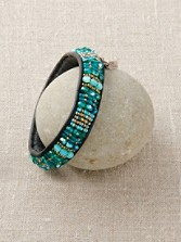 Beaded Leather River Bangle