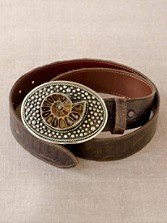 Ammonite Buckle With Leather Belt
