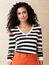 Pop Stripe V-neck Sweater