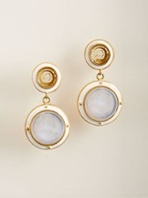 Glass Intaglio Clip Earrings