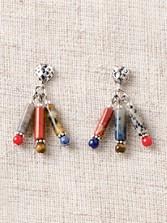 Mixed Stones Tube Earrings