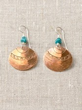 Copper Coin Basket Earrings