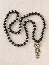 Black Onyx With Bronze Owl Necklace