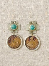 Bronze Token Earrings