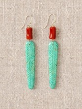 Turquoise Carved Feather Earrings