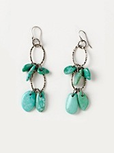 Turquoise Nuggets Hammered Loop Earrings