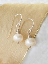 Hand-wrapped Sterling Pearl Earrings