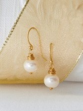 Hand-wrapped Goldplate Pearl Earrings
