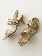 Colander Cutout Metallic Sandals