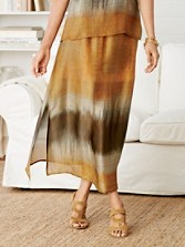 Long Side-slit Silk Skirt