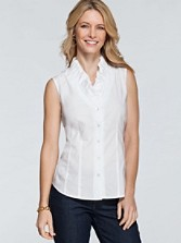 Double-ruffle Sleeveless Shirt