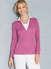 Linen Split-collar Pullover