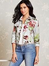 Floral Crop Jean Jacket