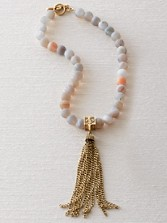 Frosted Agate Tassel Necklace
