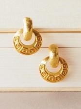 Greek Key Doorknocker Earrings