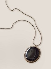 Onyx Oval Charm Necklace