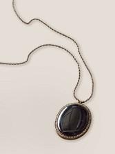 Onyx Oval Charm Necklace