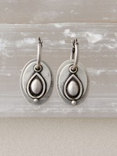 Sterling Ovals On Hoops Earrings