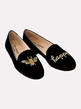Bee Happy Embroidered Velvet Flats