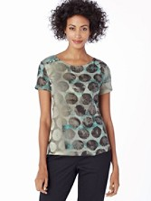 Button-sleeve Print Dot Tee