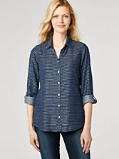 Horizontal Stripe Tencel Shirt