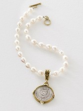 White Pearl Medallion Necklace