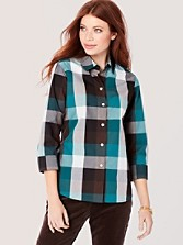 Three-quarter Sleeve Buffalo Check Shirt