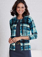 Three-quarter Sleeve Plaid Cardigan