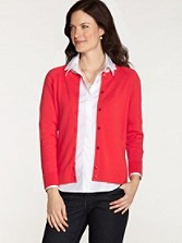 Three-quarter Sleeve Jewel Neck Cardigan