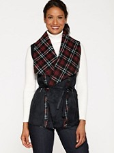 Faux Suede Plaid Double-faced Vest