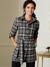 Worsted Wool Plaid Belted Shirt-jac