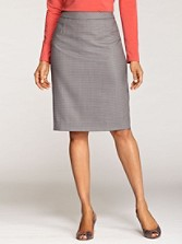 Check Worsted Wool Pencil Skirt