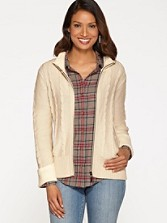 Chenille-trim Zip Cardigan