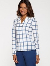 Long-sleeve Tattersall Blouse