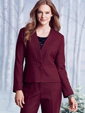 Worsted Wool Crepe One-button Jacket