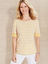 Striped Roll-sleeve Rib Tee