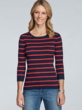 Three-quarter Sleeve Stripe Pullover