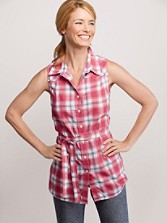 Sleeveless Belted Plaid Shirt