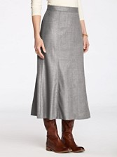 Worsted Wool Flannel Fit And Flare Skirt