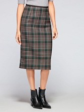 Holiday Plaid Long Pencil Skirt