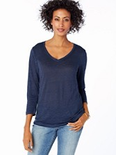 Three-quarter Sleeve Linen V-neck Tee
