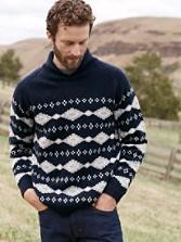 Diamond Shawl Collar Sweater