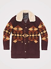 Journey Jacquard Shearling Collar Coat