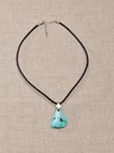 Turquoise And Leather Pendant