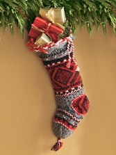 Hand-knit Intarsia Wool Stocking