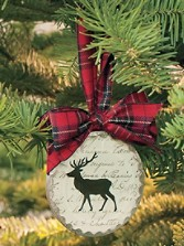 Beveled Glass Deer Ornament