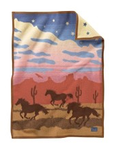 Wild Horses Crib Blanket