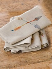 Embroidered Crossed Arrow Napkins- Set 4