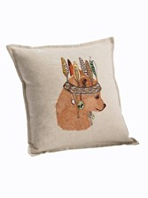 Bear Portrait Linen Pillow